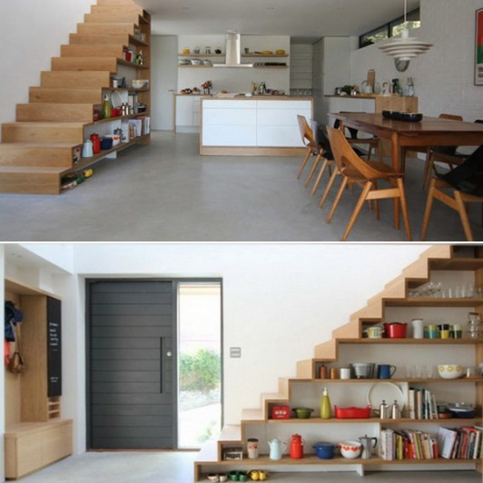 Até embaixo da escada você pode fazer uma estante!
