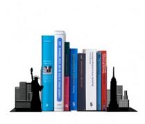 Existem aparadores incríveis de vários modelos. Esse tem aqui http://www.fabrica9.com.br/aparador-de-livros-nova-iorque.html